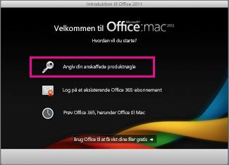 Skærmbilledet Aktiver Office til Mac