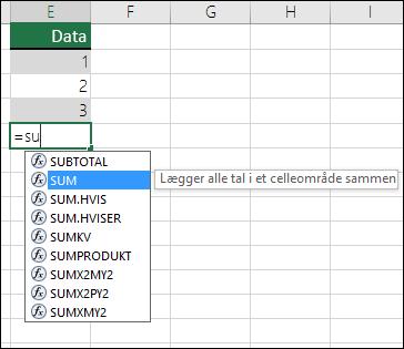 Excel – Autofuldførelse af formel