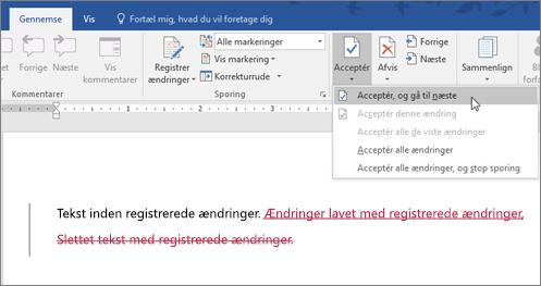 Registrér ændringer i Office 365 Word
