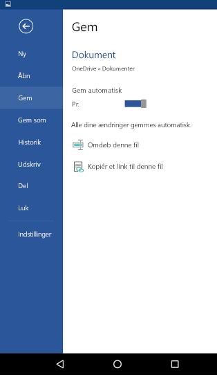 Skærmbillede af indstillingen automatisk lagring på en Android-telefon