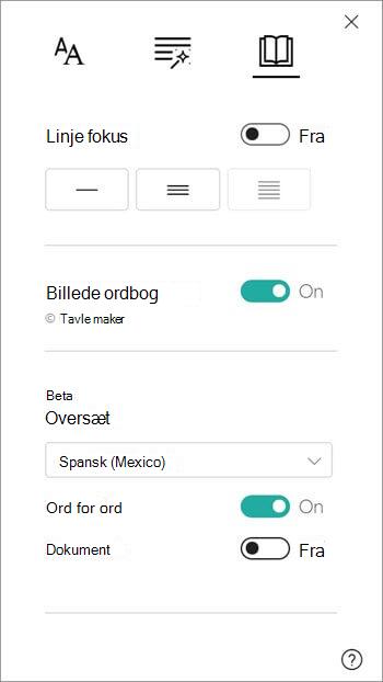 Indstillinger for oversættelse findes under sektionen billed ordbog.