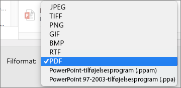 PowerPoint 2016 til Mac-eksport-PDF