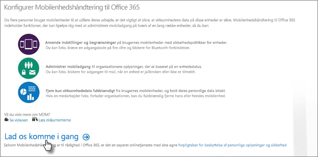 Konfigurer Administration af mobilenheder for Office 365