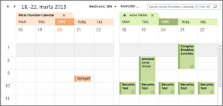 Importeret Google-kalender side om side i Outlook