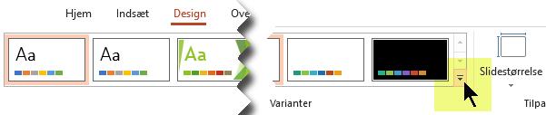 Vælg pilen, der peger nedad, for at åbne galleriet af farvevarianter