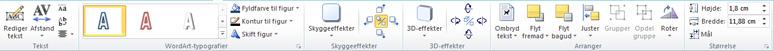 Fanen WordArt-værktøjer i Publisher 2010