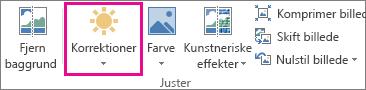 Knappen Rettelser under fanen Formatér i Billedværktøjer