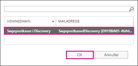 Kopiér søgeresultaterne til standardsøgepostkassen i Discovery