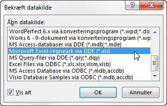 Dialogboksen Bekræft datakilde