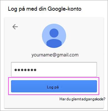 Angiv Google adgangskode