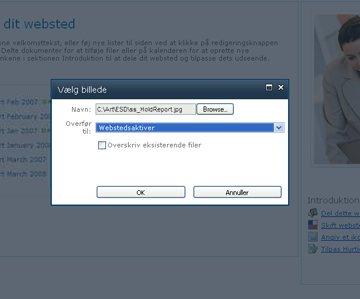 Tilføjelse af et billede til et websted