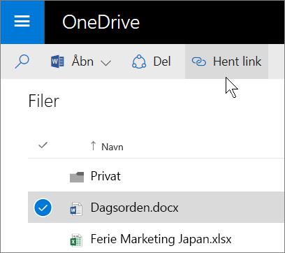 Skærmbillede af deling af en fil ved hjælp af knappen Hent link i OneDrive for Business