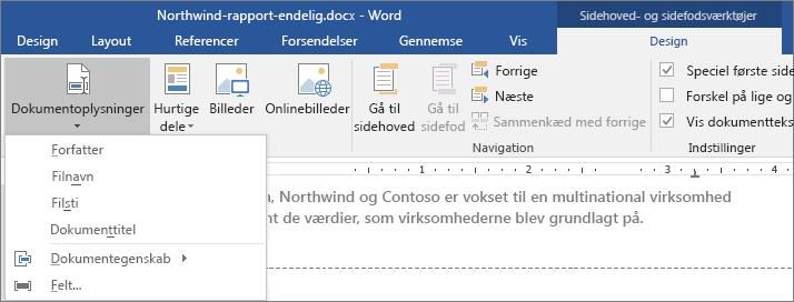 Indstillingerne til Dokumentinfo vises på fanen Sidehoved‑ og sidefodsværktøj.