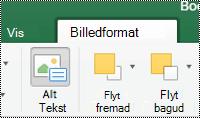 Knappen alternativ tekst til billeder på båndet i Excel til Mac