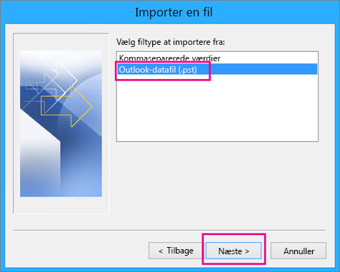 Vælg at importere en Outlook-datafil (.pst)