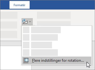Flere indstillinger for rotation på båndet i Word