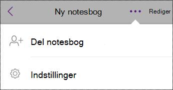 Knappen Indstillinger i notesbøger på iPhone.