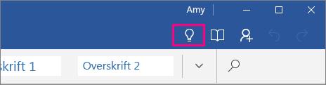 """Viser, hvor ikonet """"Fortæl mig"""" er på båndet i Word Mobile"""
