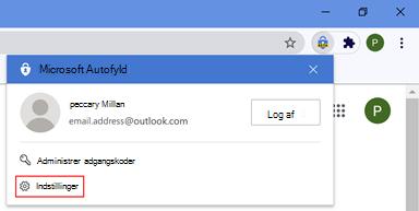 Placering af indstillinger for automatisk udfyldning i Chrome-browseren
