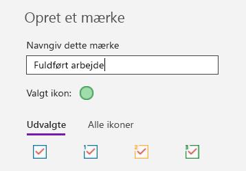 Oprettelse af brugerdefinerede mærker i OneNote til Windows 10