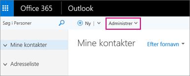 Et billede af, hvordan siden Personer ser ud i Outlook på internettet