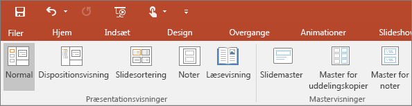 Viser menuen Vis i PowerPoint