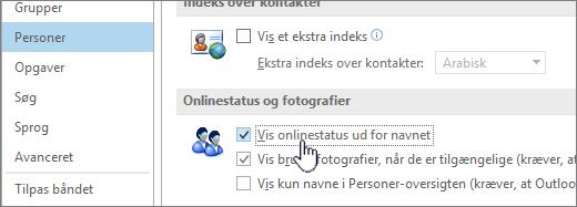 Fanen Personer i dialogboksen Indstillinger med Vis onlinestatus fremhævet