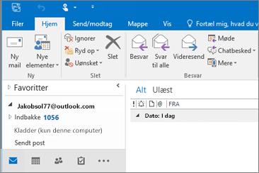 Et billede af, hvordan den ser ud, når du har en Outlook.com-konto i Outlook 2016.