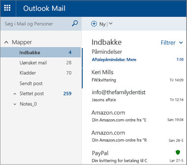 Det primære skærmbillede i Outlook.com eller Hotmail.com