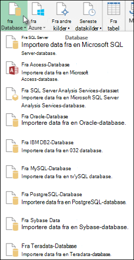 Hente data fra Database dialogboksen