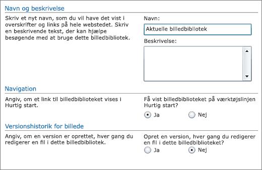Dialogboks til at tilføje navn, diagram, navigationsruden Hurtig start og versionsstyring.