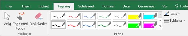 Viser fanen Tegning i Excel 2016.