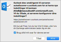Denne omdirigerede meddelelse vises muligvis, når du konfigurerer din første Exchange-konto i Outlook