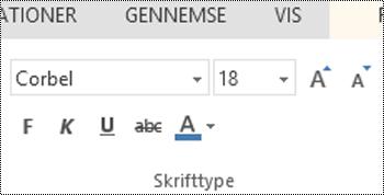 Gruppen skrifttype i PowerPoint Online