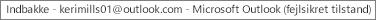 En etiket øverst i vinduet angiver navnet på den person, der ejer Indbakke og identificerer, at Outlook kører i fejlsikret tilstand
