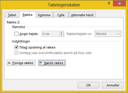 Række fanen i dialogboksen Egenskaber for tabel