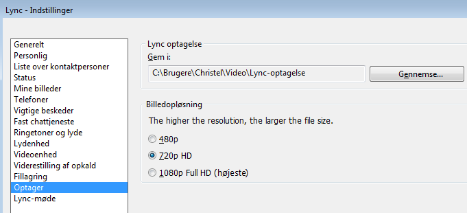 Skærmbillede af placering og opløsning for optagelser
