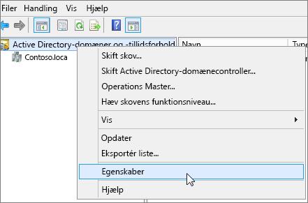 Højreklik på Active Directory-domæner og -tillidsforhold, og vælg Egenskaber