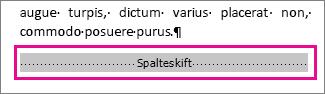 """vælger et spalteskift, når """"Vis formatering"""" er aktiveret"""