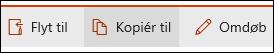 Kopiér filer, mapper eller links i et dokumentbibliotek til en anden mappe, bibliotek eller websted