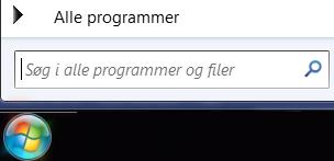 Skærmbillede af søgning efter programmer
