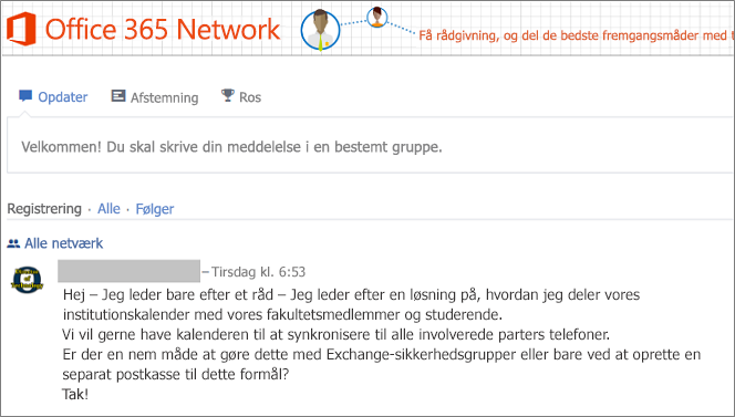 Startsiden for Office 365-netværket