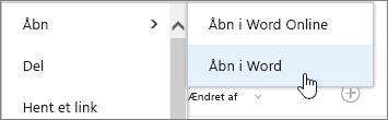 Åbn en appmarkering med Word markeret.