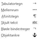 Disse formateringstegn er tilgængelige i mails.