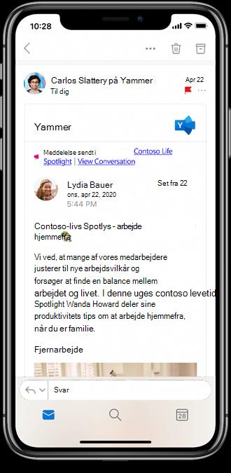 Arbejde med Yammer fra Outlook Mobile-Apps