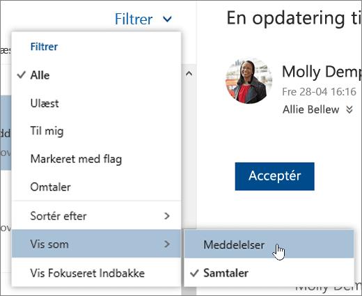 Et skærmbillede af menuen Filter, hvor Vis som er markeret