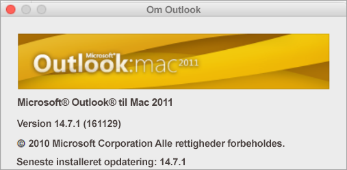 I boksen Om Outlook vil der stå Outlook til Mac 2011.