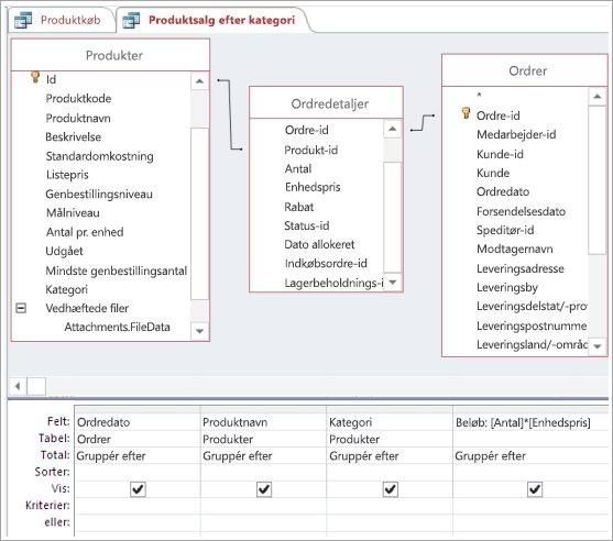 Oprettelse af nødvendige forbindelser med den mellemliggende tabel