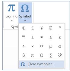 Klik på Flere symboler i menuen Symbol.