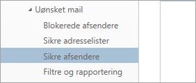 Et skærmbillede af Liste over afsendere, der er tillid til, i menuen Indstillinger
